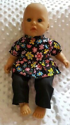 New 2 PIECE BLACK FLORAL OUTFIT to fit 14 inch dolls/ My First Baby Annabell