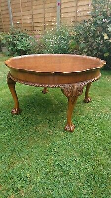 QUALITY CARVED ANTIQUE CIRCULAR BURR WALNUT COFFEE TABLE Excellent Condition