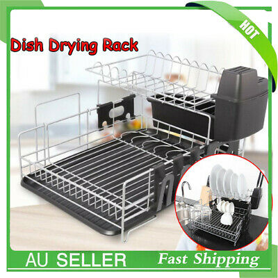 2 Tiers Dish Rack Drainer Drying Tray Cutlery Utensil Caddy Stainless Steel