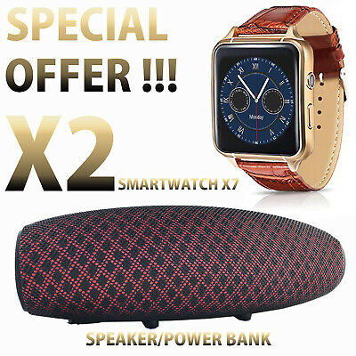 SMARTWATCH OROLOGIO iPhone ANDROID CON SIM SMART WATCH X7 + SPEAKER / POWER BANK