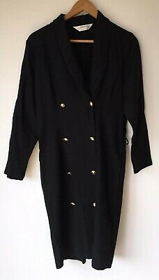 Ladies Black Long Coat 12 St Michael  <NZ3072