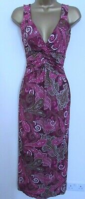 Next Ladies Pink White Brown Belted Long Maxi Dress Size 6 Petite Bnwt Womens