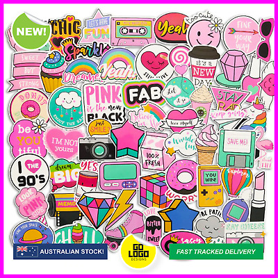 PINK SKATEBOARD STICKERS Pack Girls Cute Cartoon Decals Phone Laptop Cool Gift