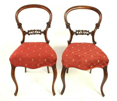 A Pair of Antique Mahogany Balloon Back Chairs - FREE Shipping [5474]
