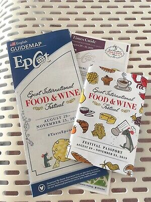 Disney Epcot Food & Wine Festival 2019 Passport Guide Park Map Times IN HAND