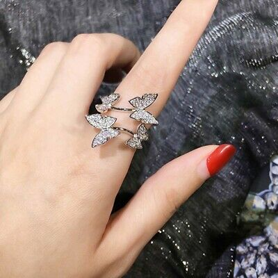 Luxury Silver/Gold Color Cubic Zirconia Ring Women Butterfly Open Ring Jewelry n