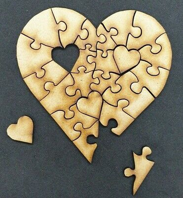 Wooden Blank Jigsaw Heart Shape 23 Piece Wood Craft Embellishment Decoration