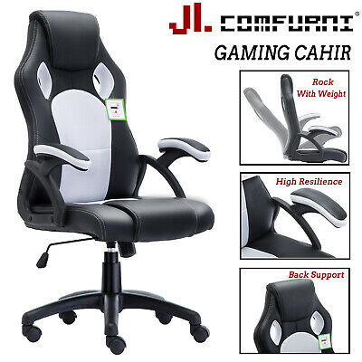 Executive Home Office Racing Chair Adjustable Swivel Pu Leather Computer Desk