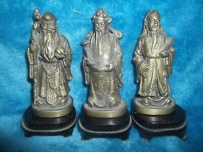 Set of 3x Bronze/Brass? Chinese Immortal Figures Fu Lu and Shou