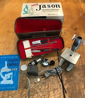 Vintage Jason Microscope W/Dissecting Kit Manual Box Case Power Supply Complete