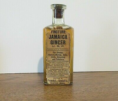 WESTERN LABELED Tincture JAMAICA GINGER, Fermentation Chemical Co.  Boston, Mass