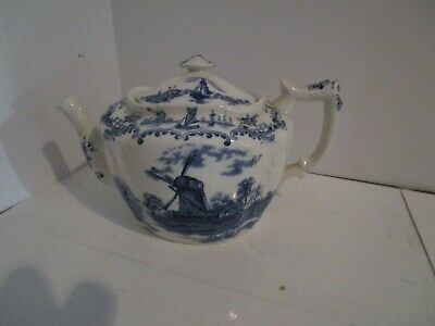 Antique Staffordshire Delft Embossed Teapot - Windmills & Sailboats
