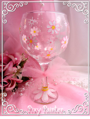 PERSONALISED Flowers Pink Glitter Large GIN Glass Hand Painted Decorated BOXED