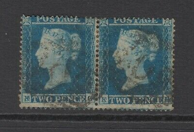 Pair of GB QV 2d Deep Blue SG19 Two Pence KG/KH Queen Victoria 1854 Used Stamps