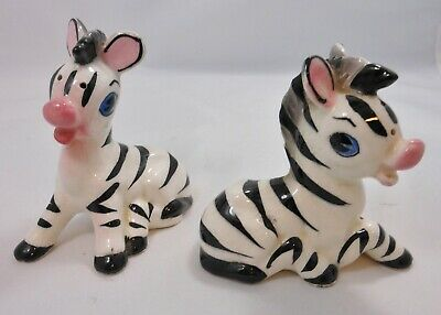 Vintage Zebra Salt and Pepper Shakers with Corks, Made in Japan