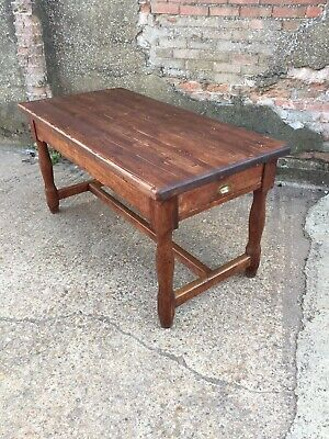 Antique Pine Refectory Table Kitchen Farmhouse Dining Table with Drawers