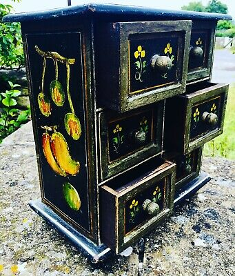 English Victorian Ebonised Minaiture Bank Of Drawers Fruit And Floral Motif