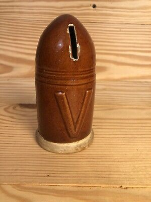 c1918 WWI Era Ceramic Victory Bank, England, Shell Shape, Bullet Shape, 6 1/2""