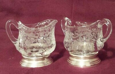 Sheffield Sterling Silver & Etched Glass Cream And Sugar Chantilly Cambridge