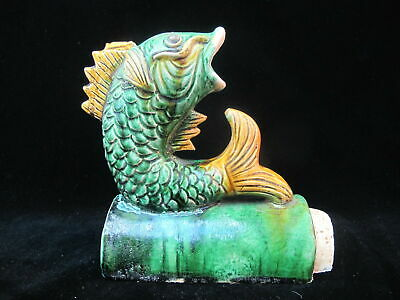 Antique CHINESE Glazed Green Ceramic Majolica KOI Fish Roof Tile Figurine