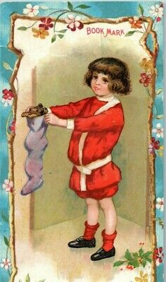 1890's Bookmark H. Leh & Co. Child Red Suit Christmas Stocking Toys 7H