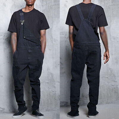 Mens Jumpsuit Male Denim Jumpsuit Casual Fashion Pencil Overalls Ripped