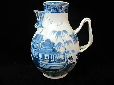 CHINESE Export Porcelain Large Antique CANTON Blue White Double Handle Pitcher