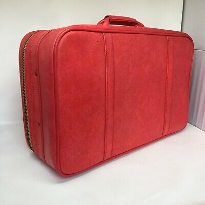 Vintage Red AMERICAN TOURISTER Soft Sided Travel Luggage Suitcase w/ Working KEY