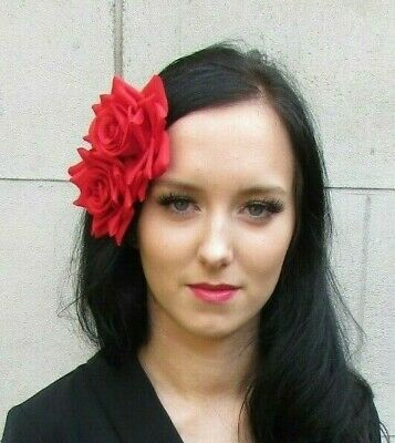 Double Red Rose Flower Hair Clip Fascinator Floral Wedding Races Rockabilly 7428