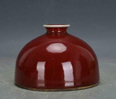 chinese old handmade Red glaze porcelain Water jar 06951