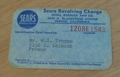 "VTG 1950's 'REVOLVING Credit CHARGE' Card~""SEARS Roebuck and Co"" FRESNO CAL~"
