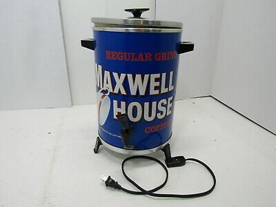 VINTAGE Maxwell House Coffee Pot Maker 30 Cup Metal Percolator WestBend 1970's