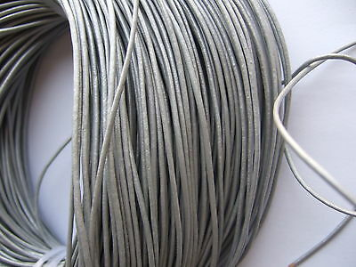 100% Real 2mm Round Metallic Silver Leather Cord String Lace Thong Jewellery