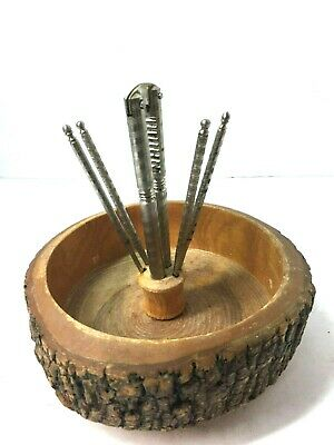Vintage Wooden Nut Cracker Bowl Set With 5 Tools Made From Natural Tree