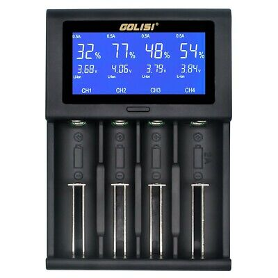GOLISI i4 Travel LCD Smart Battery Charger USB for 21700 20700 26650 18650 New