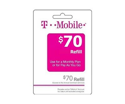 T-Mobile $70 Prepaid Refill Card, Air Time Top-Up/Pin RECHARGE (Direct)