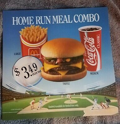 McDonald's 1992 Home run Meal Combo 14x14 Translite