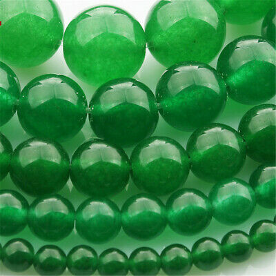 4-12mm Natural Green Jade Round Beads Diy Accessories Opaque Spacer Hole Styles