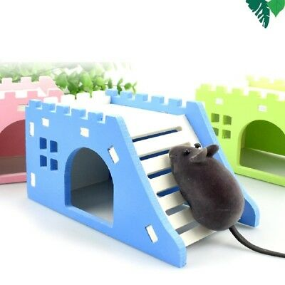 Chic Wood Castle Toy Mini Hamster House Bed Cage Nest For Small AnimalPetToy VA2