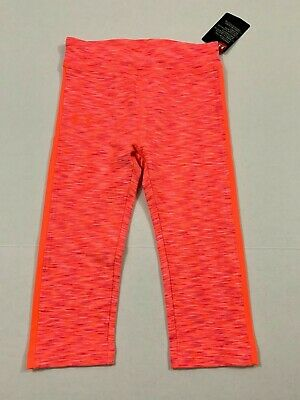 Under Armour NWT Size 5 6 6X Youth Girls Cropped Capri Leggings Pop Pink Stripe