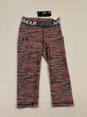 Under Armour NWT Youth Girls Striped Cropped Leggings NEON M L XL 10 12 14 16