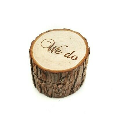 Wooden Ring Holder Case Gift Rustic Wedding Engagement Ring Box VA2X