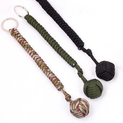 Monkey Fist Paracord KeychainKeyring Military Steel Ball Survival Outdoor Chic