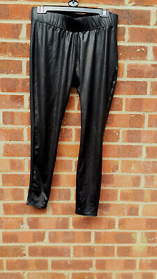 Mamas and Papas Black Wetlook Maternity Leggings UK size 12/14