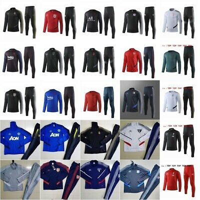 19/20 Kids 2Pcs Football Soccer Club Tracksuit Trainning Suit Youth Jersey Kits
