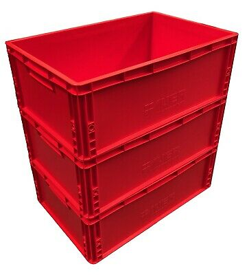3 x 45 Litre Heavy Duty Plastic Stacking Euro Storage Containers Boxes Crates!!!