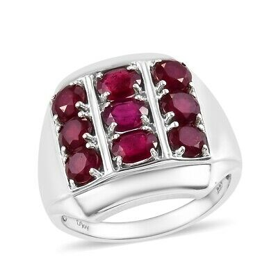 925 Sterling Silver Fissure Filled Ruby Mens Ring Jewelry Size 14 Ct 6.8