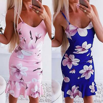 Womens Strappy Floral Bodycon Midi Dress Bandage Holiday Party Summer Sundress