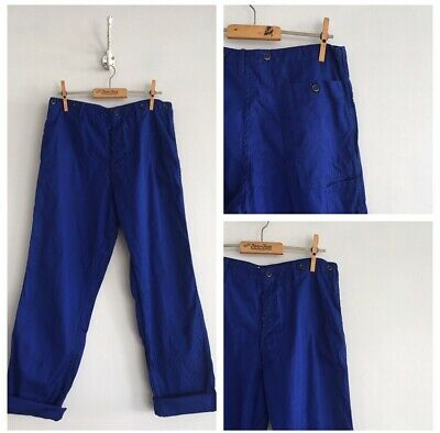 "True Vintage Blue Cotton Chore Workwear Trousers Pants W30"" S"