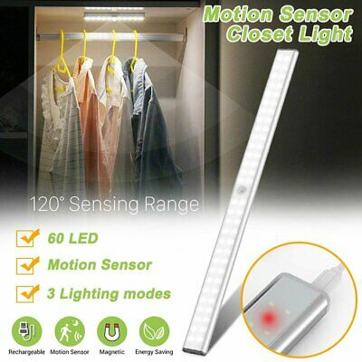Under Closet Night Light PIR Motion Sensor USB Rechargeable Strip Lamp Wardrobe
